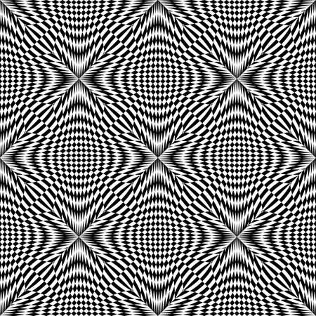 deform: Design seamless monochrome checkered pattern. Abstract background. Vector art