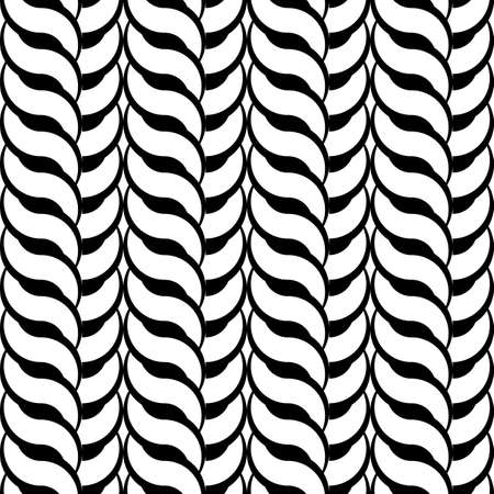 Design seamless monochrome interlaced pattern. Abstract vertical background. Vector art Illustration