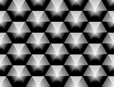 volumetric: Design seamless monochrome hexagon geometric pattern. Abstract striped background. Vector art. No gradient Illustration