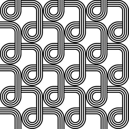 entwine: Design seamless monochrome geometric pattern. Abstract stripy background. Vector art