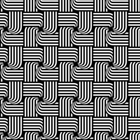 Design seamless monochrome interlaced pattern. Abstract stripy background. Vector art Vector