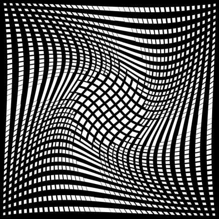 torsion: Design monochrome movement illusion background. Abstract grid torsion backdrop. Vector-art illustration. No gradient