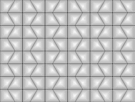 Design seamless monochrome hexagon geometric pattern. Abstract striped zigzag background. Vector art. No gradient Illustration