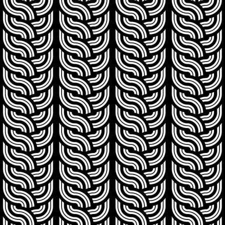 Design seamless monochrome interlaced pattern. Abstract vertical stripy background. Vector art Vector