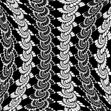 wattle: Design warped monochrome vertical spiral background. Abstract decorative lacy pattern. Vector art Illustration