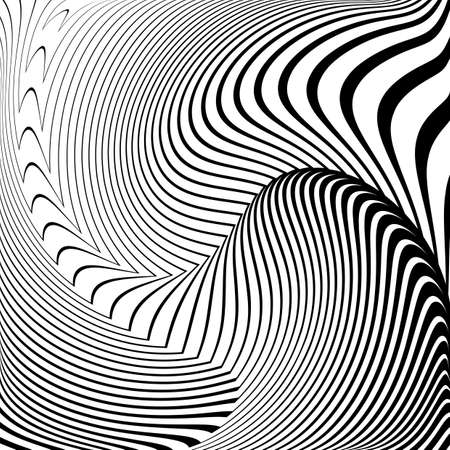 convex: Design convex textured background. Abstract lines distortion backdrop. Vector-art illustration. No gradient