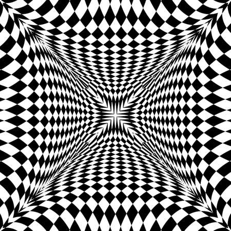 torsion: Design monochrome motion illusion checkered background. Abstract torsion backdrop. Vector-art illustration