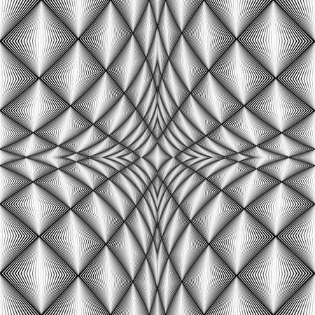 concave: Design diamond concave texture. Abstract geometric monochrome perspective background. Vector art. No gradient