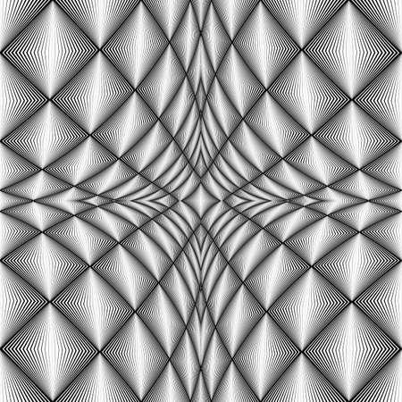 checkered volume: Design diamond concave texture. Abstract geometric monochrome perspective background. Vector art. No gradient