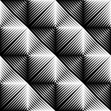 cuadros blanco y negro: Diseño sin patrón convexo cuadrado. Fondo monocromo abstracta geométrica. Vector el arte. No degradado Vectores