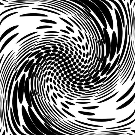 Design monochrome movement illusion background. Abstract dotted backdrop. Vector-art illustration. No gradient