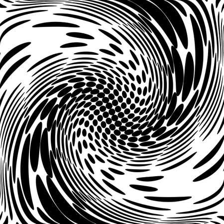Ontwerp monochrome beweging illusie achtergrond. Abstract gestippelde achtergrond. Vector-kunst illustratie. Geen gradiënt