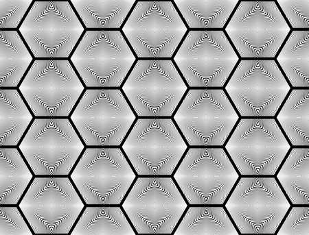 web2: Design seamless monochrome hexagon geometric pattern. Abstract striped background. Vector art. No gradient Illustration