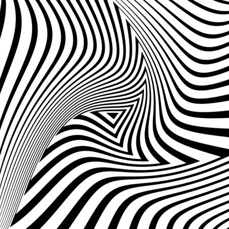 deform: Design monochrome triangle movement illusion background. Abstract striped distortion geometric backdrop. Vector-art illustration. No gradient Illustration