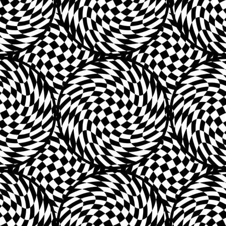 torsion: Design seamless monochrome illusion checkered background. Abstract torsion pattern. Vector art