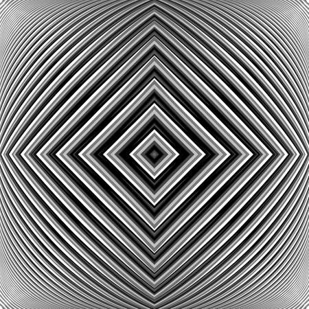 convex shape: Design monochrome geometrical illusion background. Abstract striped lines distortion backdrop. Vector-art illustration. EPS10