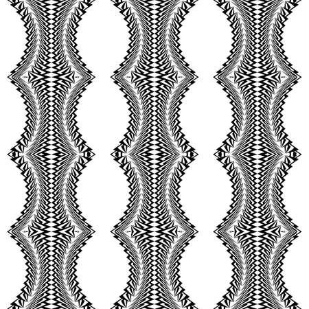 deform: Design seamless monochrome stripy pattern. Abstract warped textured background. Vector art. No gradient