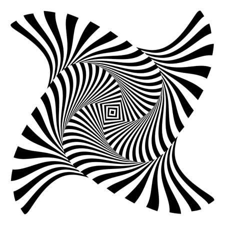 디자인 흑백 소용돌이 운동 환상 배경. 추상 스트라이프 왜곡 배경. 벡터 아트 그림 일러스트