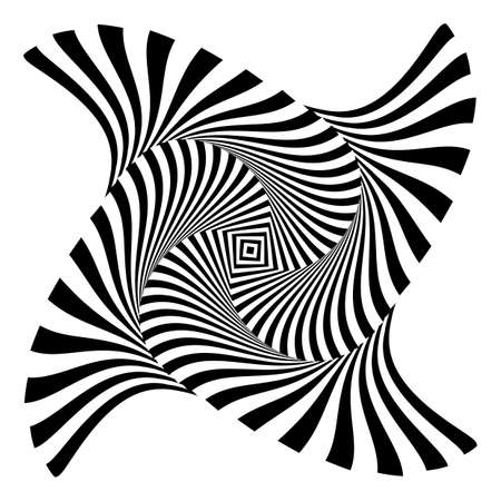 Design monochrome vortex movement illusion background. Abstract striped distortion backdrop. Vector-art illustration