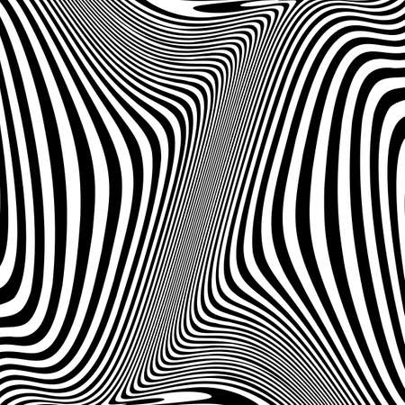 no movement: Design monochrome movement illusion background. Abstract striped lines distortion backdrop. Vector-art illustration. No gradient