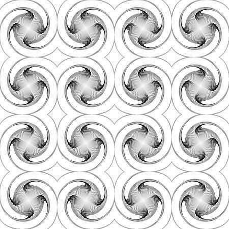 no gradient: Design seamless monochrome twirl movement background. Abstract decorative pattern. Vector art. No gradient