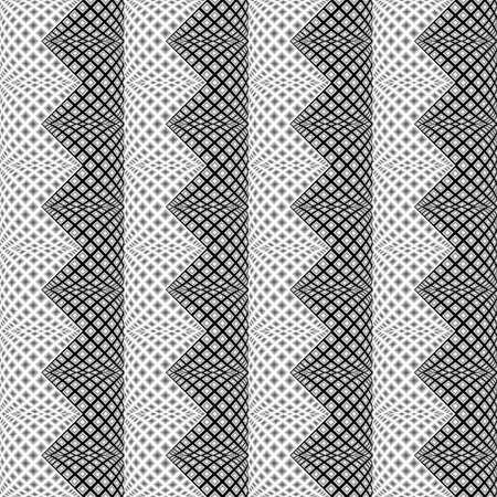 checkered volume: Design seamless monochrome vertical zigzag pattern. Abstract convex textured background. Vector art. No gradient Illustration