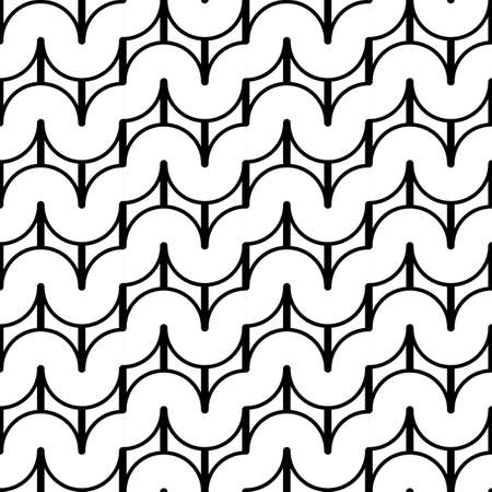 deform: Design seamless monochrome waving geometric pattern. Abstract background. Vector art