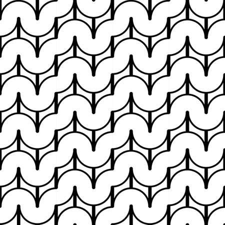 deform: Design seamless monochrome waving geometric pattern. Abstract background. Vector art