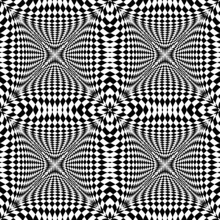 checkered volume: Design seamless monochrome illusion checkered pattern. Abstract torsion background. Vector art. No gradient Illustration