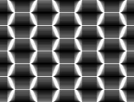 zigzag: Design seamless monochrome hexagon geometric pattern. Abstract striped zigzag background. Vector art. No gradient Illustration