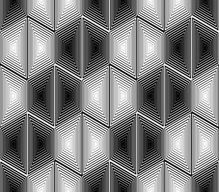 trellis: Design seamless monochrome hexagon geometric pattern. Abstract striped zigzag background. Vector art. No gradient Illustration