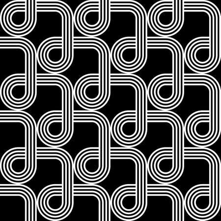 entwine: Design seamless monochrome geometric pattern. Abstract stripy background. Vector art