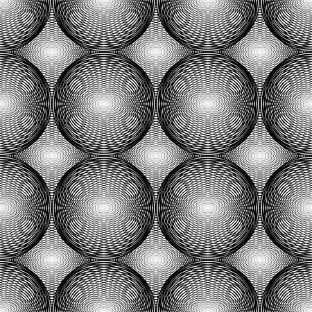 no gradient: Design seamless monochrome circular geometric pattern. Abstract grid textured background. Vector art. No gradient Illustration