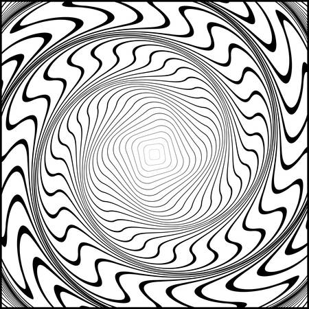 distortion: Design monochrome swirl movement illusion background. Abstract striped distortion backdrop. Vector-art illustration. No gradient