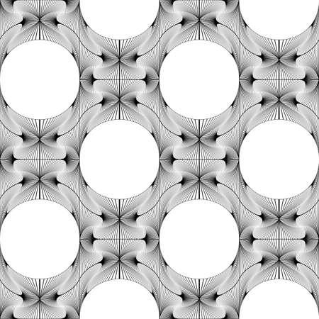 elipse: Diseño blanco y negro sin fisuras patrón decorativo elipse. Red abstracta con textura de fondo. Vector el arte. No degradado