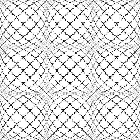 trellis: Design seamless monochrome convex pattern. Abstract grid textured background. Vector art Illustration