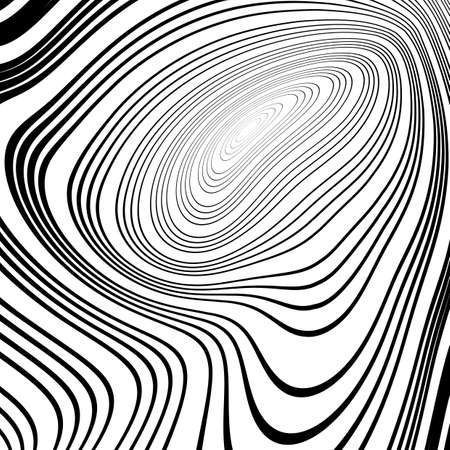 elipse: Diseño monocromático torbellino elipse fondo movimiento. Resumen rayas deformado telón de fondo trenzado. Ilustración vectorial de última generación. No degradado