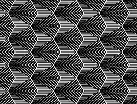 원활한 흑백 육각형의 기하학적 패턴을 디자인합니다. 초록 줄무늬 배경을 지그재그. 벡터 아트. 아니 그라데이션 일러스트