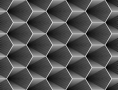 Design seamless monochrome hexagon geometric pattern. Abstract striped zigzag background. Vector art. No gradient Иллюстрация