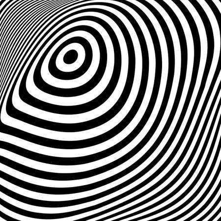 torsion: Design monochrome ellipse movement illusion background. Abstract stripe torsion texture. Vector-art illustration Illustration