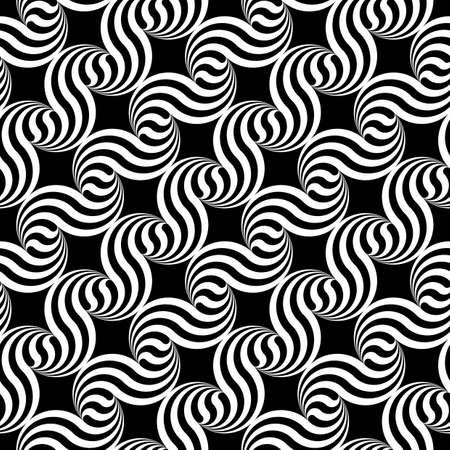 deform: Design seamless monochrome waving geometric pattern. Abstract stripy background. Vector art