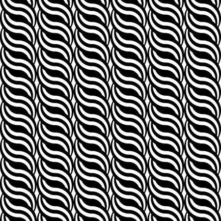 interlace: Design seamless monochrome waving pattern. Abstract vertical stripy background. Vector art