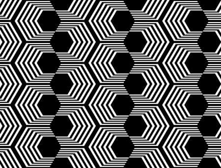 no gradient: Design seamless monochrome hexagon geometric pattern. Abstract striped zigzag background. Vector art. No gradient Illustration