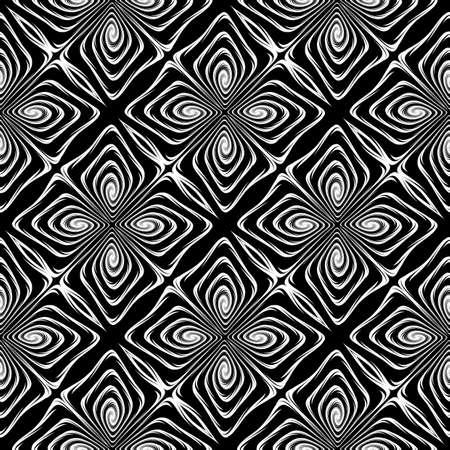 Design seamless monochrome decorative pattern. Abstract geometric background. Vector art. No gradient Ilustrace