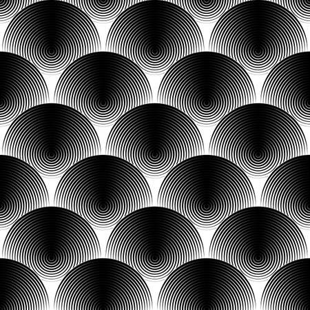 contemporary art: Design seamless monochrome ellipse pattern. Abstract textured background. Vector art. No gradient Illustration