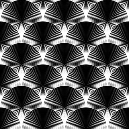 Design seamless monochrome ellipse pattern. Abstract textured background. Vector art. No gradient Illustration