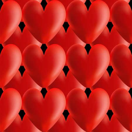 volumetric: Design seamless red volumetric hearts pattern. Vector art.  Illustration