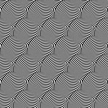 curl whirlpool: Design seamless monochrome illusion background. Abstract stripe torsion pattern. Vector art