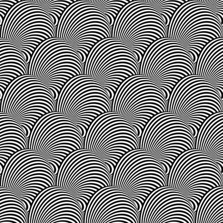 curl whirlpool: Design seamless monochrome illusion background. Abstract stripe torsion pattern. Vector art