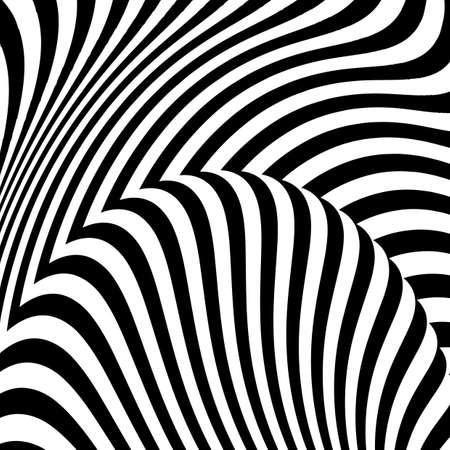 디자인 흑백 운동 환상 배경입니다. 추상 스트라이프 비틀림 질감입니다. 벡터 아트 그림 일러스트